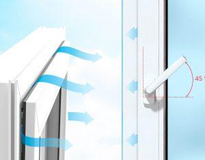 схема открывания окна в режиме микропроветривания